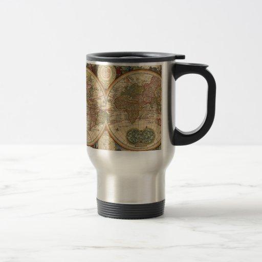 Vieille carte rare et historique antique du monde mugs à café