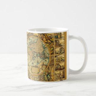 Vieille carte vintage antique du monde illustrée mug blanc