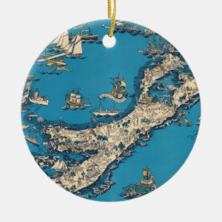 Vieille carte vintage des îles de Bermudes Ornement Rond En Céramique