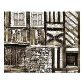 Vieille Chambre rustique en bois et de pierre Prospectus 11,4 Cm X 14,2 Cm