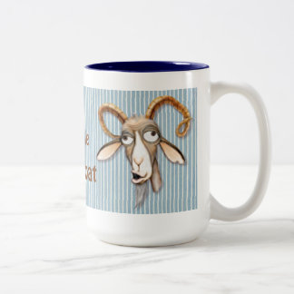 Vieille chèvre aimable - personnaliser mug bicolore