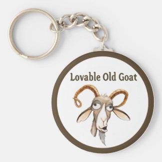 Vieille chèvre drôle porte-clé rond