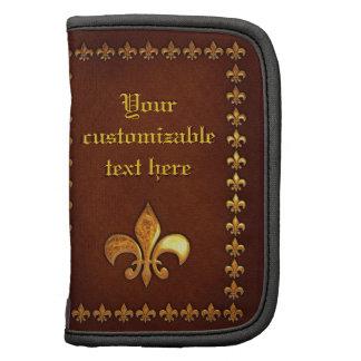 Vieille couverture en cuir avec Fleur-De-Lys d or Agenda Folio