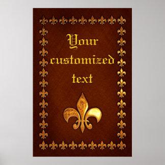 Vieille couverture en cuir avec Fleur-De-Lys d or Posters