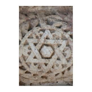 Vieille étoile de David découpant, Israël Art Mural En Acrylique