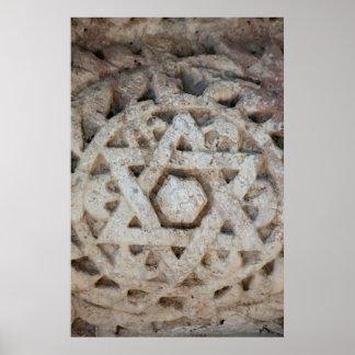 Vieille étoile de David découpant, Israël Poster