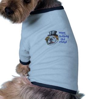 Vieille gerçure de joyeux anniversaire t-shirt pour chien