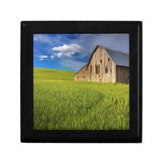 Vieille grange dans le domaine du blé de mars petite boîte à bijoux carrée