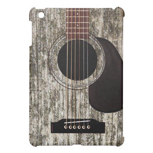 Vieille guitare acoustique supérieure en bois coques iPad mini