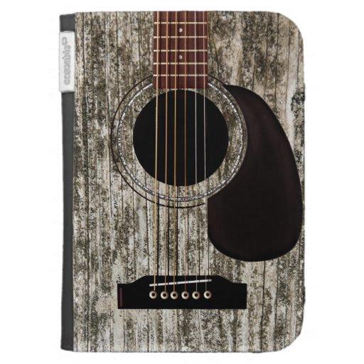 Vieille guitare acoustique supérieure en bois étui clavier kindle