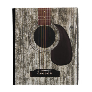 Vieille guitare acoustique supérieure en bois coque folio iPad