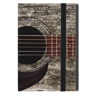 Vieille guitare acoustique supérieure en bois étui iPad mini