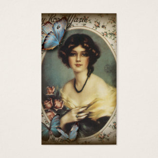 Vieille Madame de Paris de mode de papillon floral Cartes De Visite