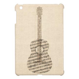 Vieille musique de feuille de guitare acoustique coque pour iPad mini