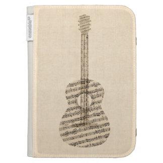 Vieille musique de feuille de guitare acoustique coque folio kindle