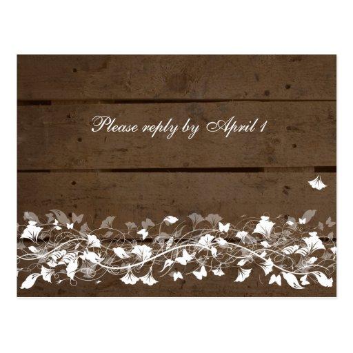 Vieille planche en bois rsvp floral carte postale zazzle for Vieille planche de bois