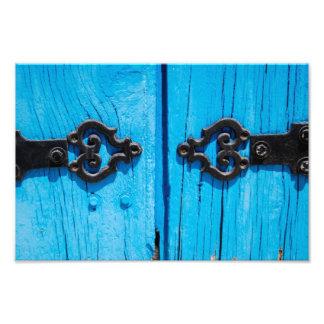 Vieille porte française bleue impression photo