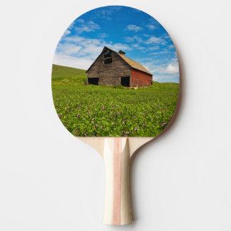 Vieille, rouge grange dans le domaine des pois raquette de ping pong