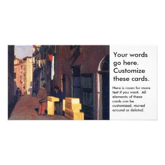 Vieille rue dans Nice l'art Vallatton de peinture  Cartes De Vœux Avec Photo