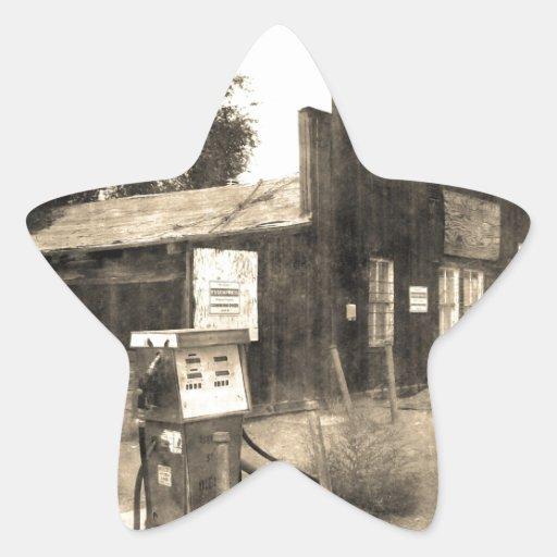 Vieille station service vintage sticker en étoile