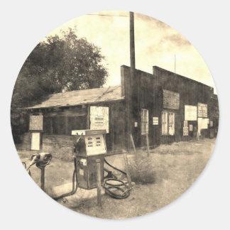 Vieille station service vintage autocollants ronds