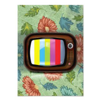 Vieille télévision de tube de cru carton d'invitation  11,43 cm x 15,87 cm