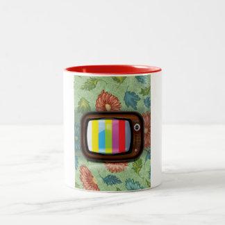Vieille télévision de tube de cru mug bicolore