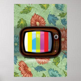 Vieille télévision de tube de cru posters