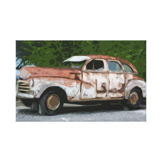 Vieille toile décomposée rouillée de voiture