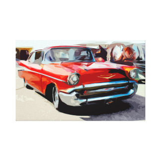 Vieille voiture classique rouge dans la toile