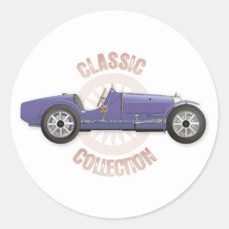 Vieille voiture de course vintage bleue utilisée autocollant rond