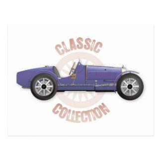 Vieille voiture de course vintage bleue utilisée cartes postales