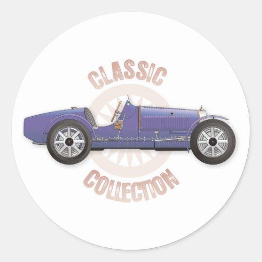 Vieille voiture de course vintage bleue utilisée s autocollants