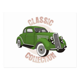 Vieille voiture vintage verte avec des pneus de carte postale