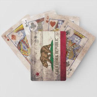 Vieilles cartes de jeu en bois de drapeau de la jeu de poker