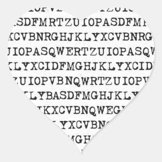 Vieilles lettres de machine à écrire sticker cœur