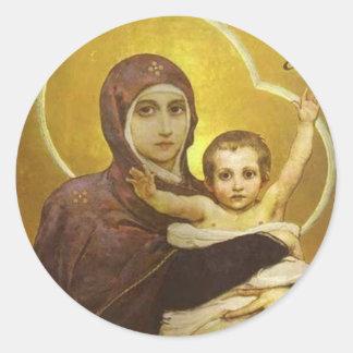 Vierge de Vasnetsov Sticker Rond