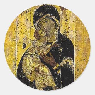 Vierge d'icône ukrainienne Madonna de Kyiv Sticker Rond