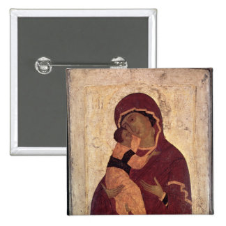 Vierge d'Umilenie de Wladimir, école de Moscou Badge Carré 5 Cm