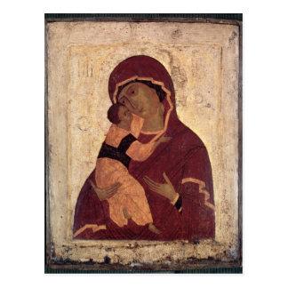 Vierge d'Umilenie de Wladimir, école de Moscou Carte Postale