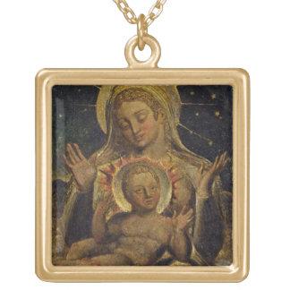 Vierge et enfant, 1825 (tempera sur le panneau) collier plaqué or