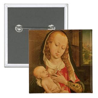 Vierge et enfant 2 badge carré 5 cm