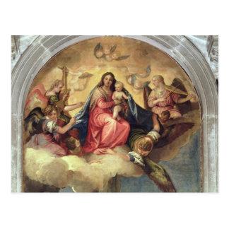 Vierge et enfant avec des musiciens d'ange carte postale