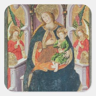 Vierge et enfant avec des musiciens d'ange sticker carré