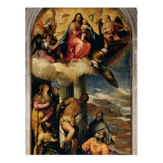 Vierge et enfant avec des musiciens et des saints carte postale