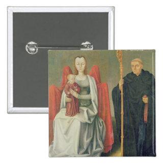 Vierge et enfant avec St Benoît Badge Carré 5 Cm