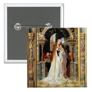 Vierge et enfant avec trois anges, panneau central badge avec épingle