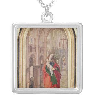 Vierge et enfant pendentif carré