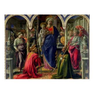 Vierge et enfant entourés par des anges carte postale