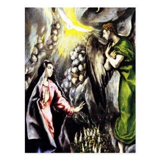 Vierge Marie annonce d'El Greco Cartes Postales